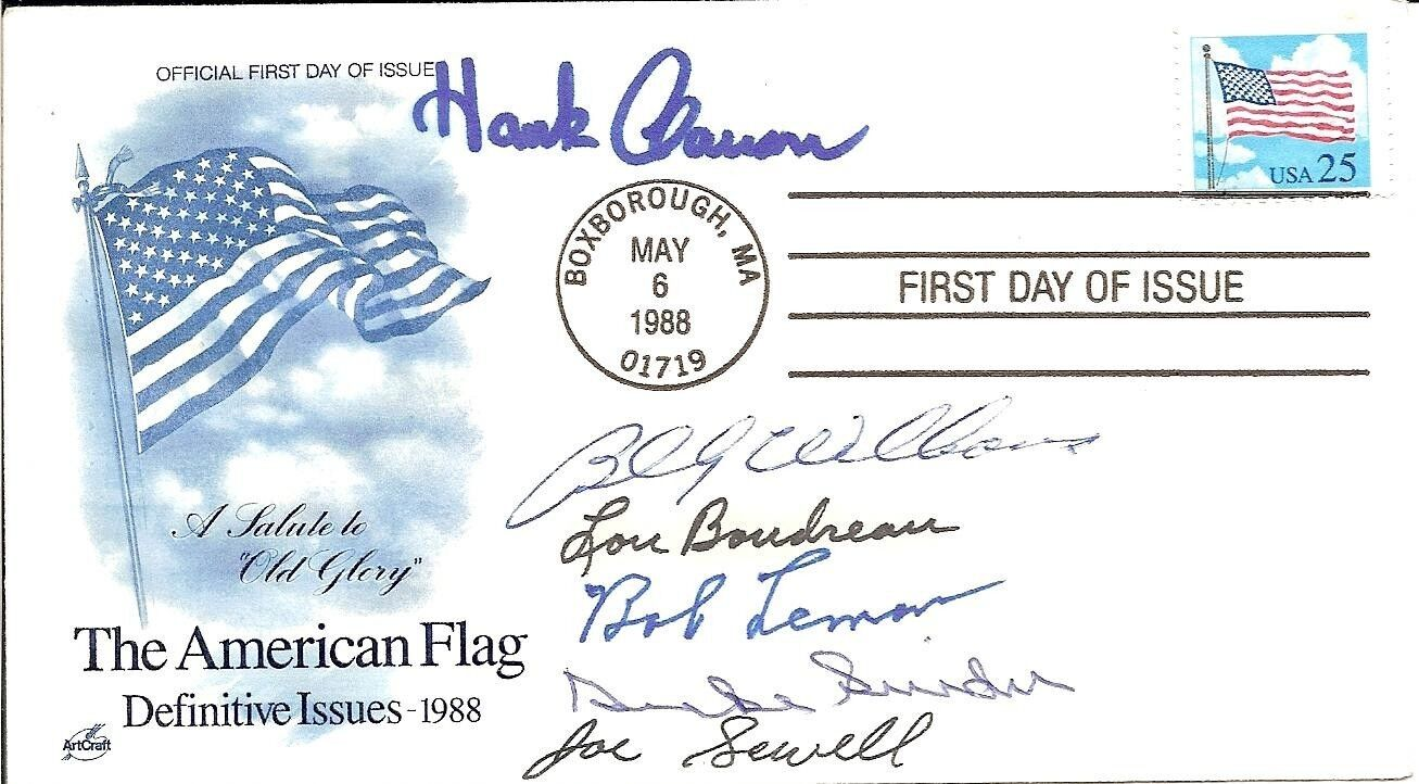 6 MLB HoF'ers (Aaron, Snider, Boudreau, Sewell) Signed First Day Cover with COA