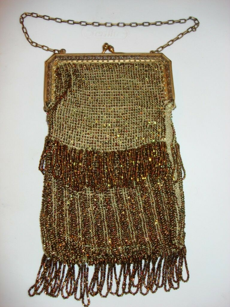 ANTIQUE GOLD BEADED BRASS FRAME CHAIN PURSE SILK LINING