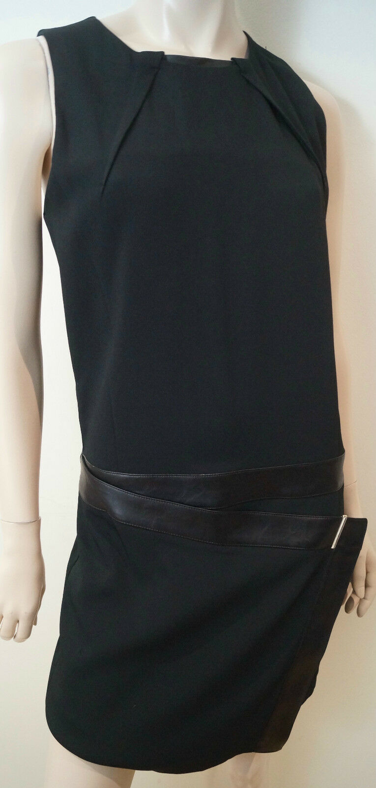 ATOS LOMBARDINI Black Drop Waist Sleeveless Wiggle Pencil Dress Sz:42 UK10 BNWT
