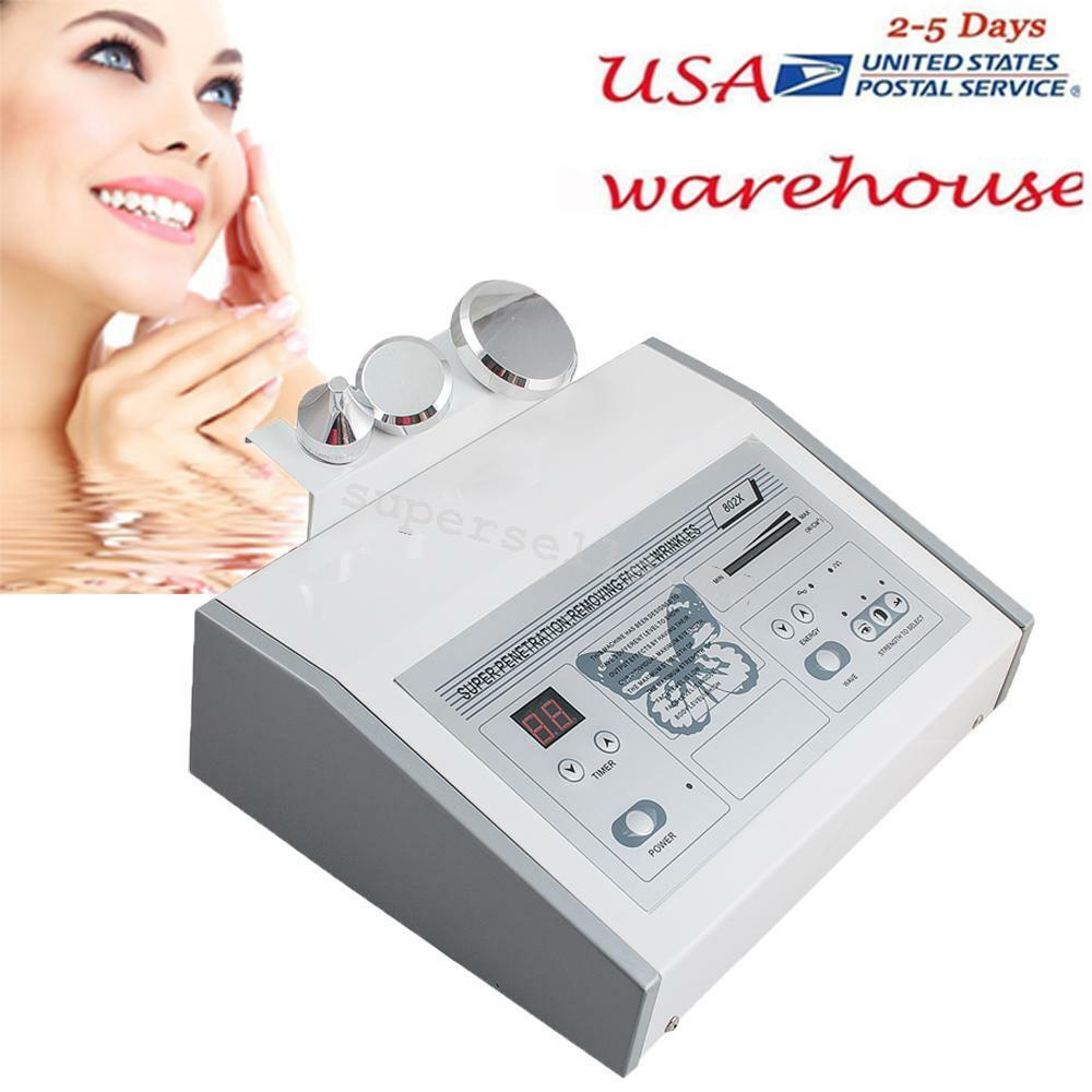 Ultrasound Ultrasonic Anti Aging Facial Skin Care Spa Salon Machine 3 Probes USA
