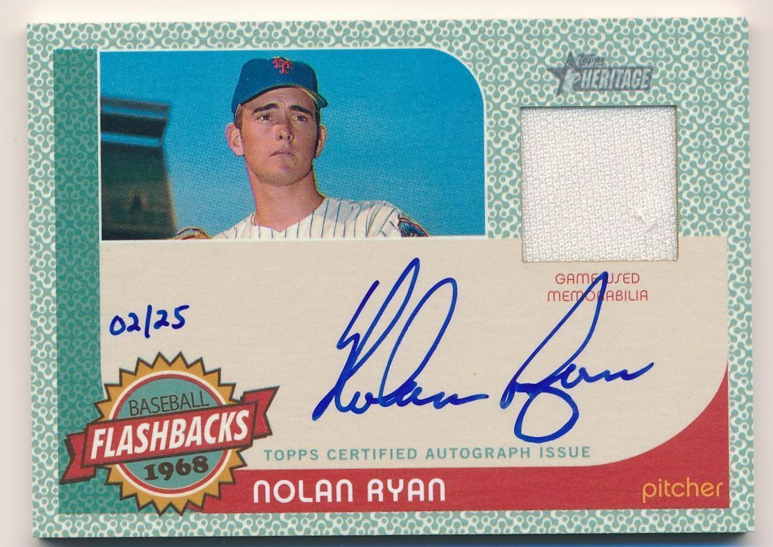 NOLAN RYAN 2017 Topps Heritage Flashbacks 1968 ON-CARD AUTO JERSEY /25 METS HOF