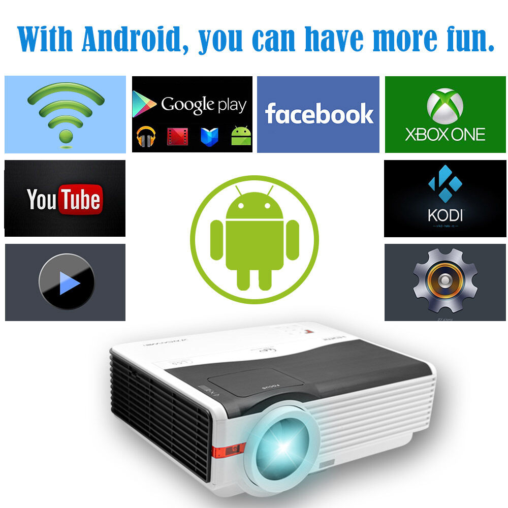 5000lm LCD LED Home Theater Projector Android Wifi Wireless APP Movie DVB-T HD