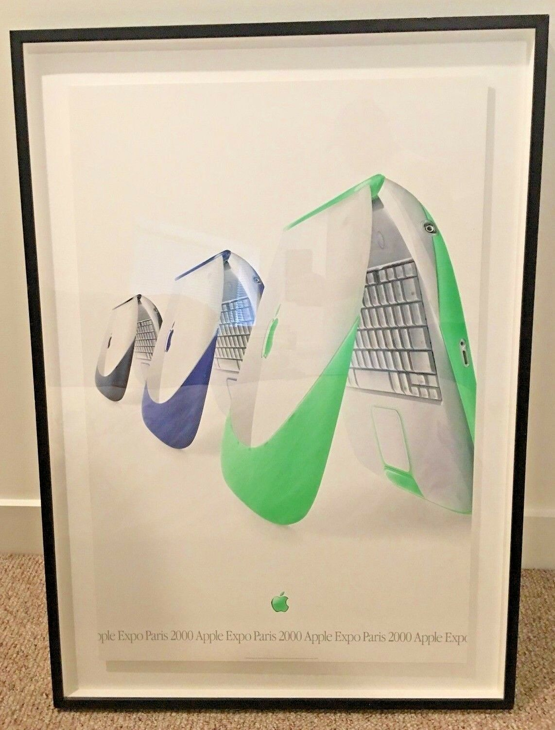 Apple Expo Paris 2000, iBook custom framed poster print,  one-of-a-kind, rare