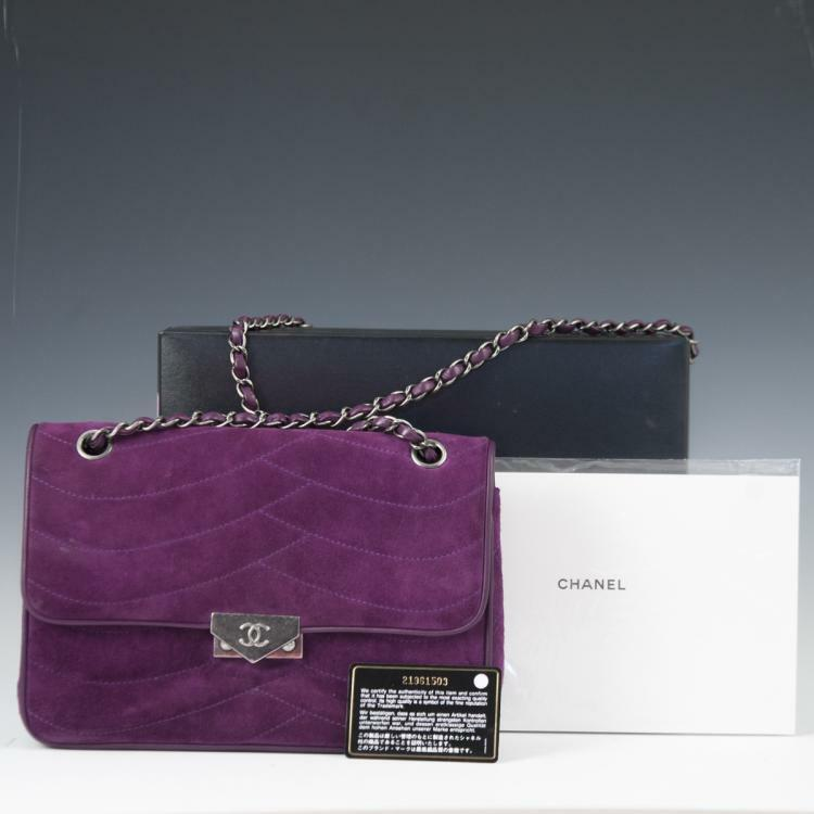Chanel Purple Suede Flap Bag Lot 188