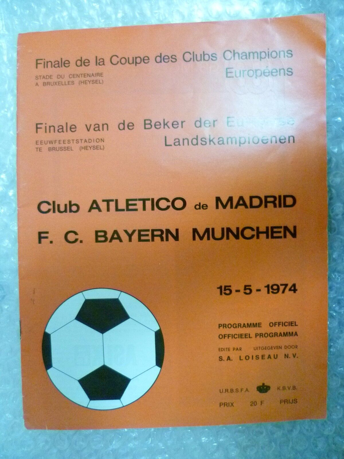 1974 European Cup Final Programme ATLETICO DE MADRID v FC BAYERN MUNCHEN, 15 May