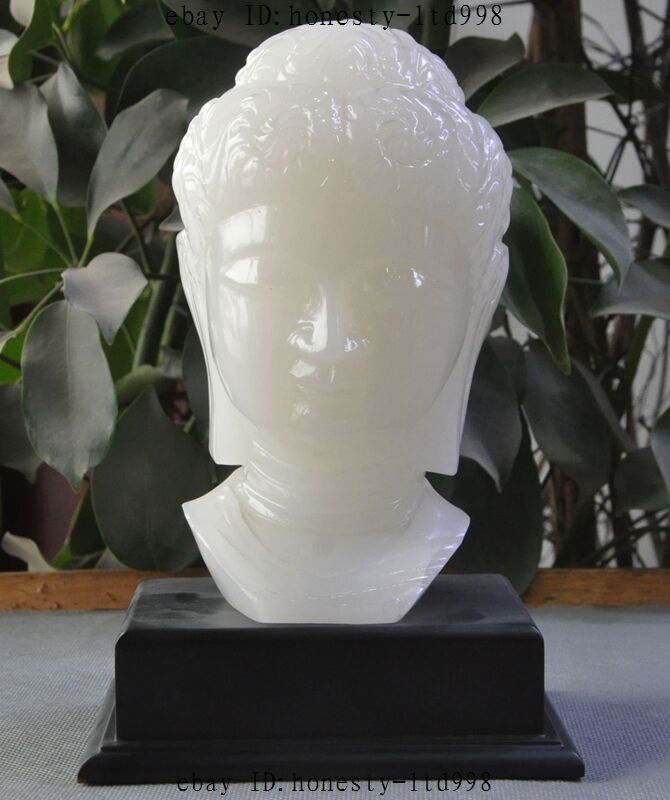 China Natural White jade Pure Hand-Carved Sakyamuni Tathagata Buddha Head Statue