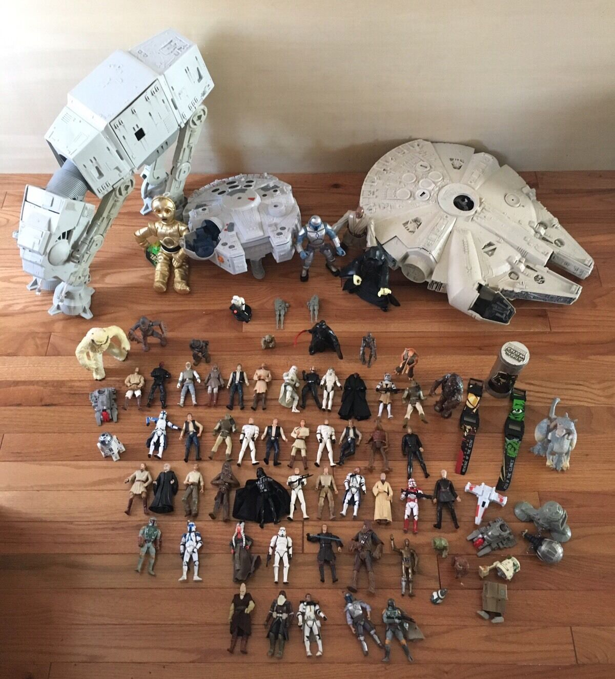 Star Wars Millenium Falcon, ATAT At At Walker, action figures Huge lot misc etc