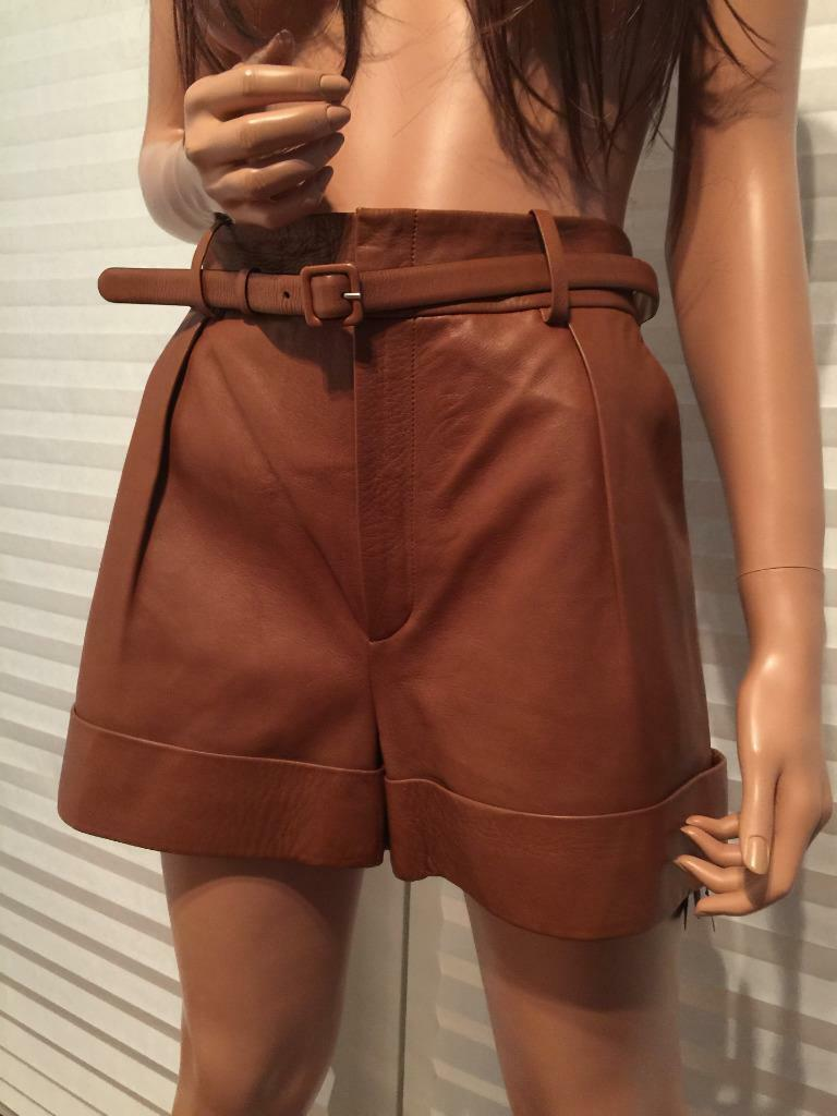 NWT Authentic GUCCI Lambskin Leather Brown Shorts sz 40