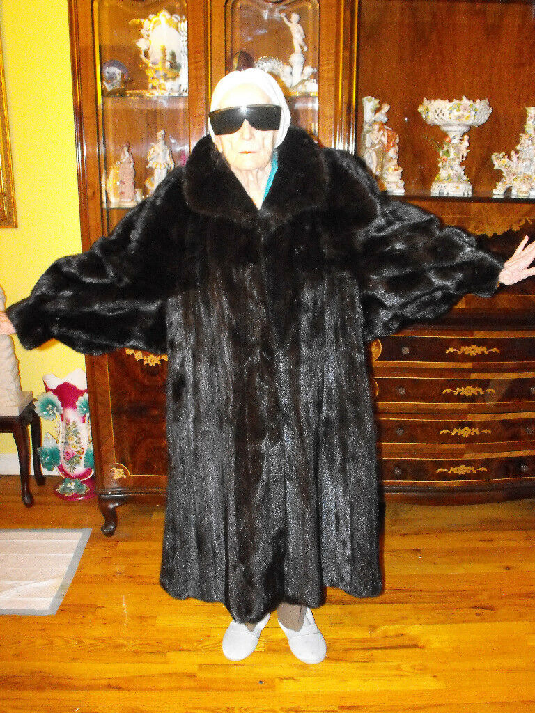 WOW Black Ranch Fur Mink Swing Dolman Floor Length Coat