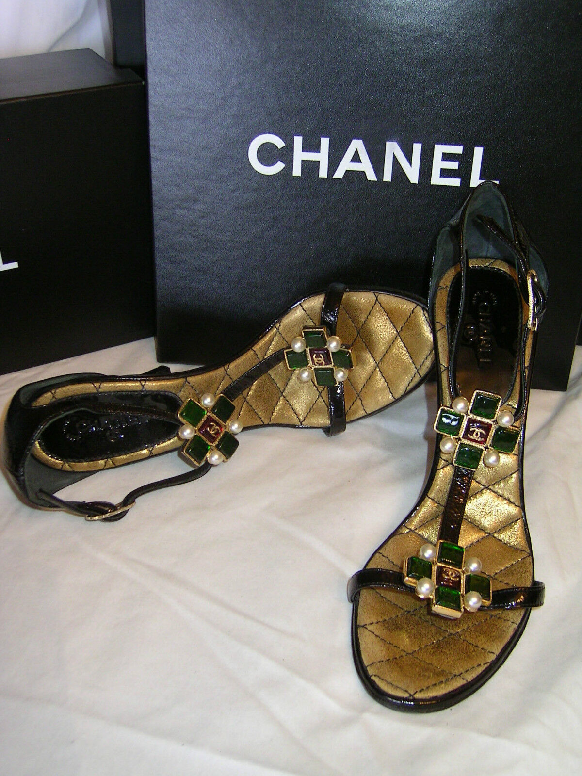 CHANEL Patent Leather SHOES Gripoix Pearls MALTESE CROSS T Strap D'Orsay Sandals