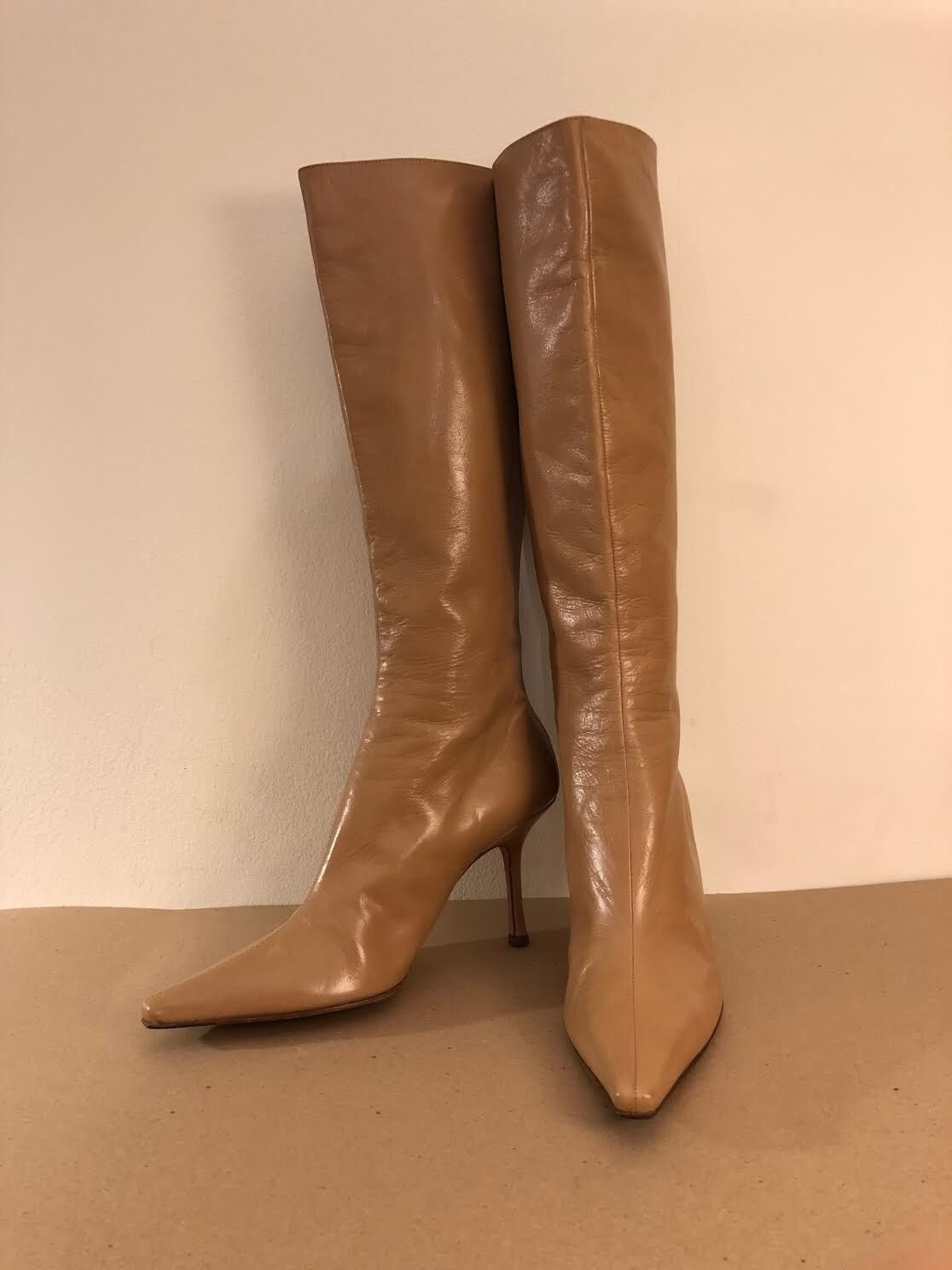 Jimmy Choo Beige/Taupe Leather Pointed Toe Knee High Boots Size 10us - 40.5euro.
