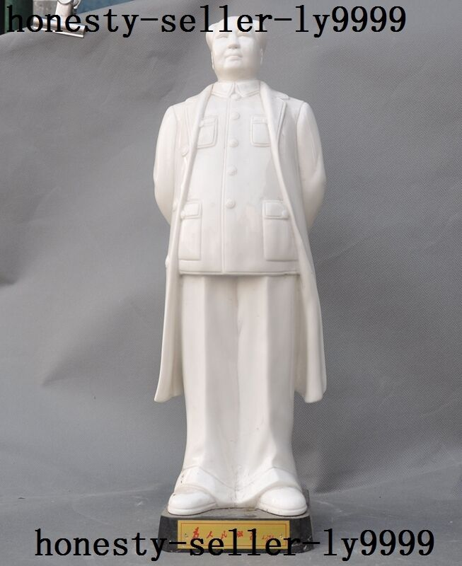 Collect Chinese porcelain carved Great Leader Mao Zedong Chairman Look up statue