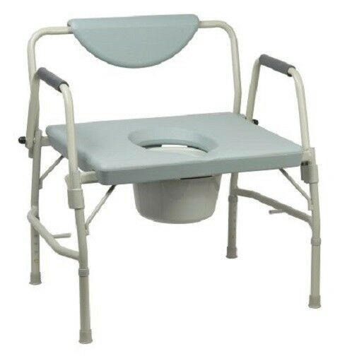 Over-Sized Drop-Arm Commode Chair, Heavy Duty Steel Frame, 1000 lb. Capacity
