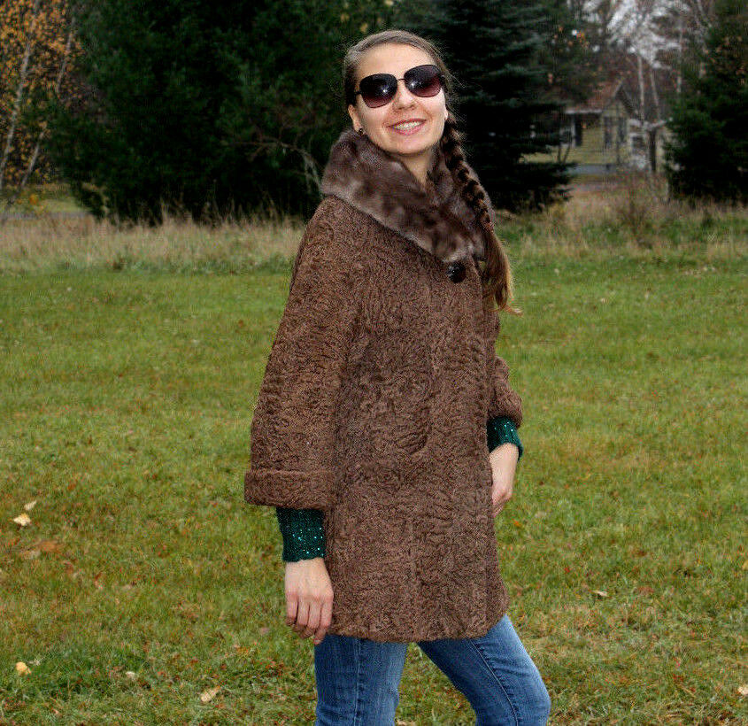 BROWN SWAKARA LAMB   Sable MINK  FUR COAT size-10