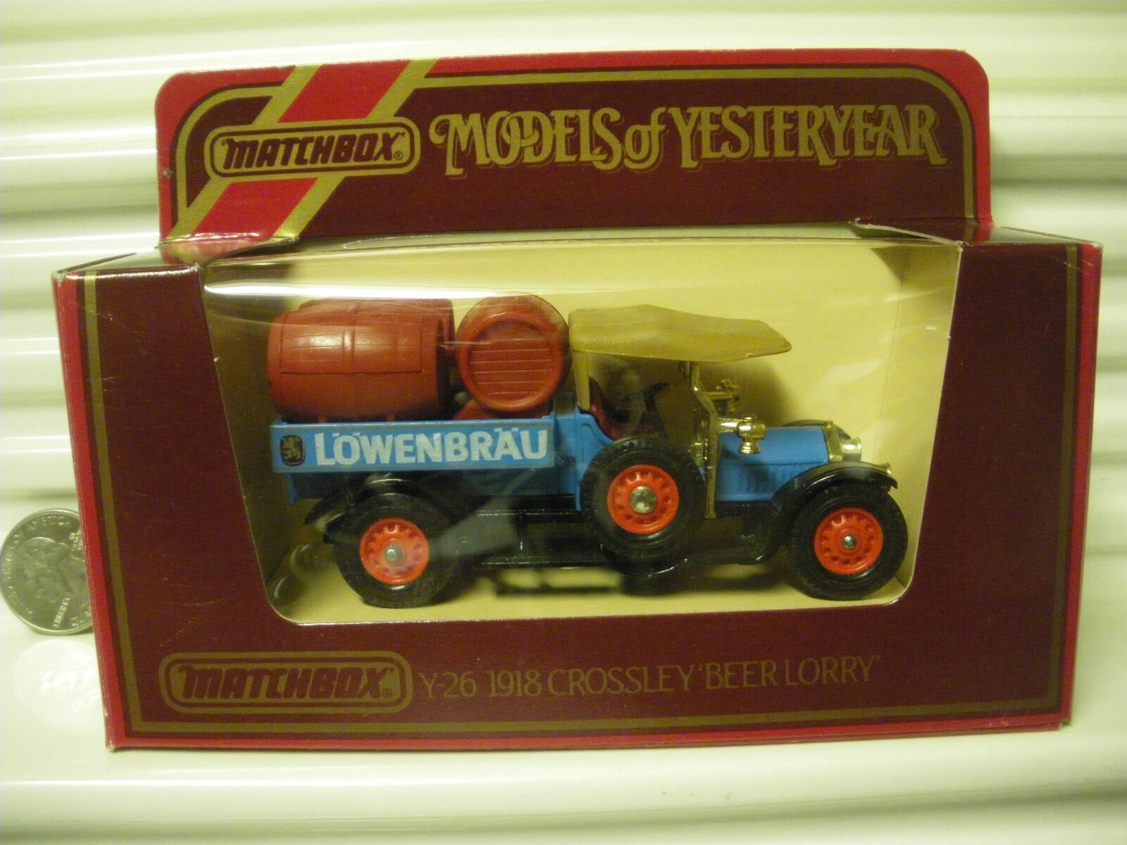 MATCHBOX MODELS OF YESTERYEAR Y26 LOWENBRAU DK RED BARRELS 1918 CROSSLEY NU BXD*