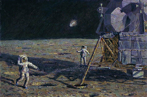 Alan Bean LONE STAR Textured Canvas PLUS FREE APOLLO BOOK SIGNED by Alan Bean