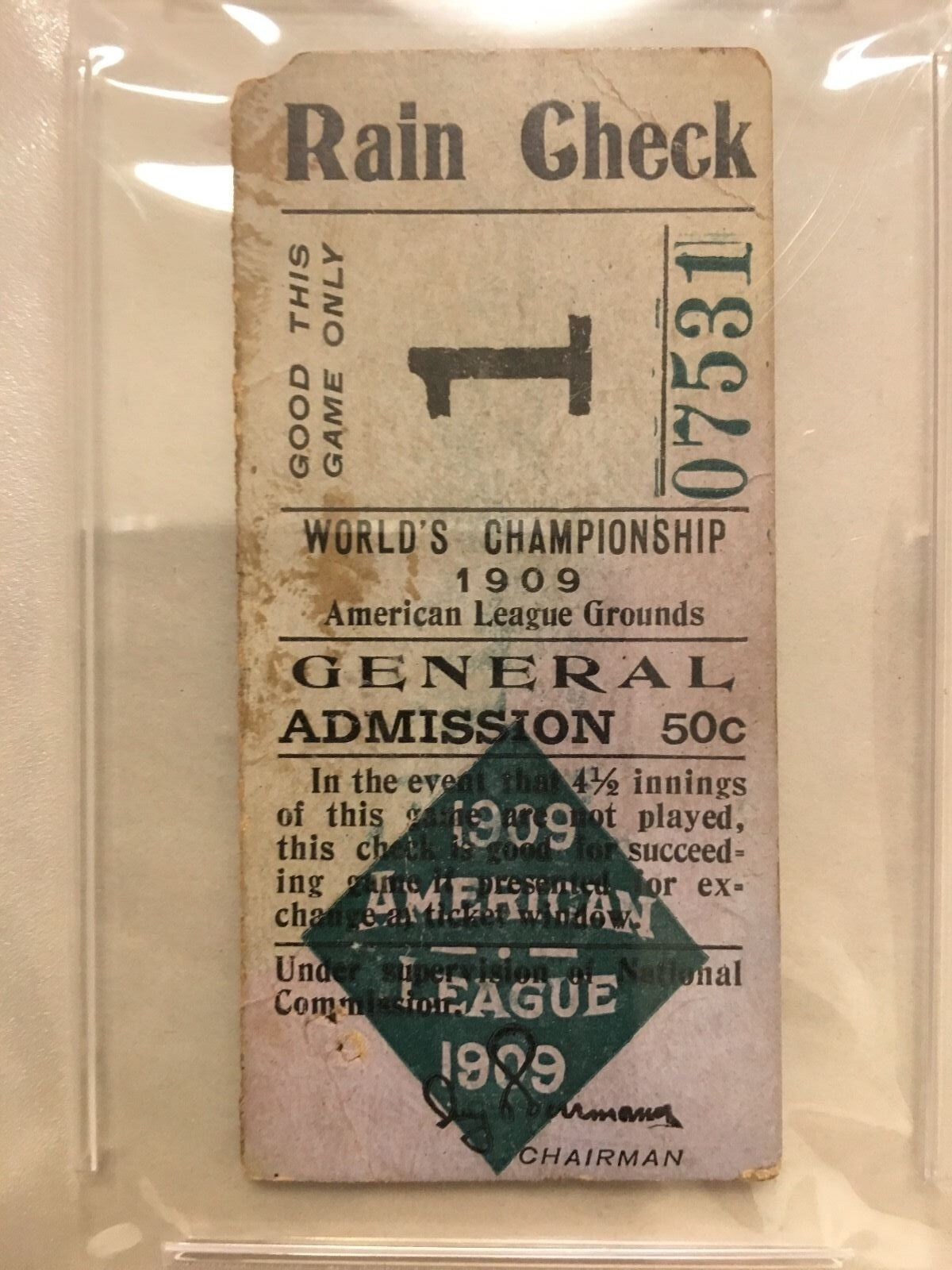 1909 World Series Ticket PSA 1 Game 3 Honus Wagner Ty Cobb Pittsburgh Detroit