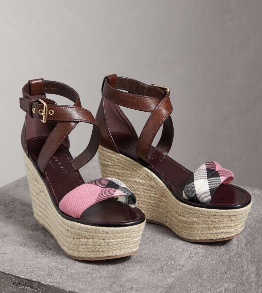Burberry Arkinson 90 Platform Wedge Purple House Check Pink Sandal Leather 7 37