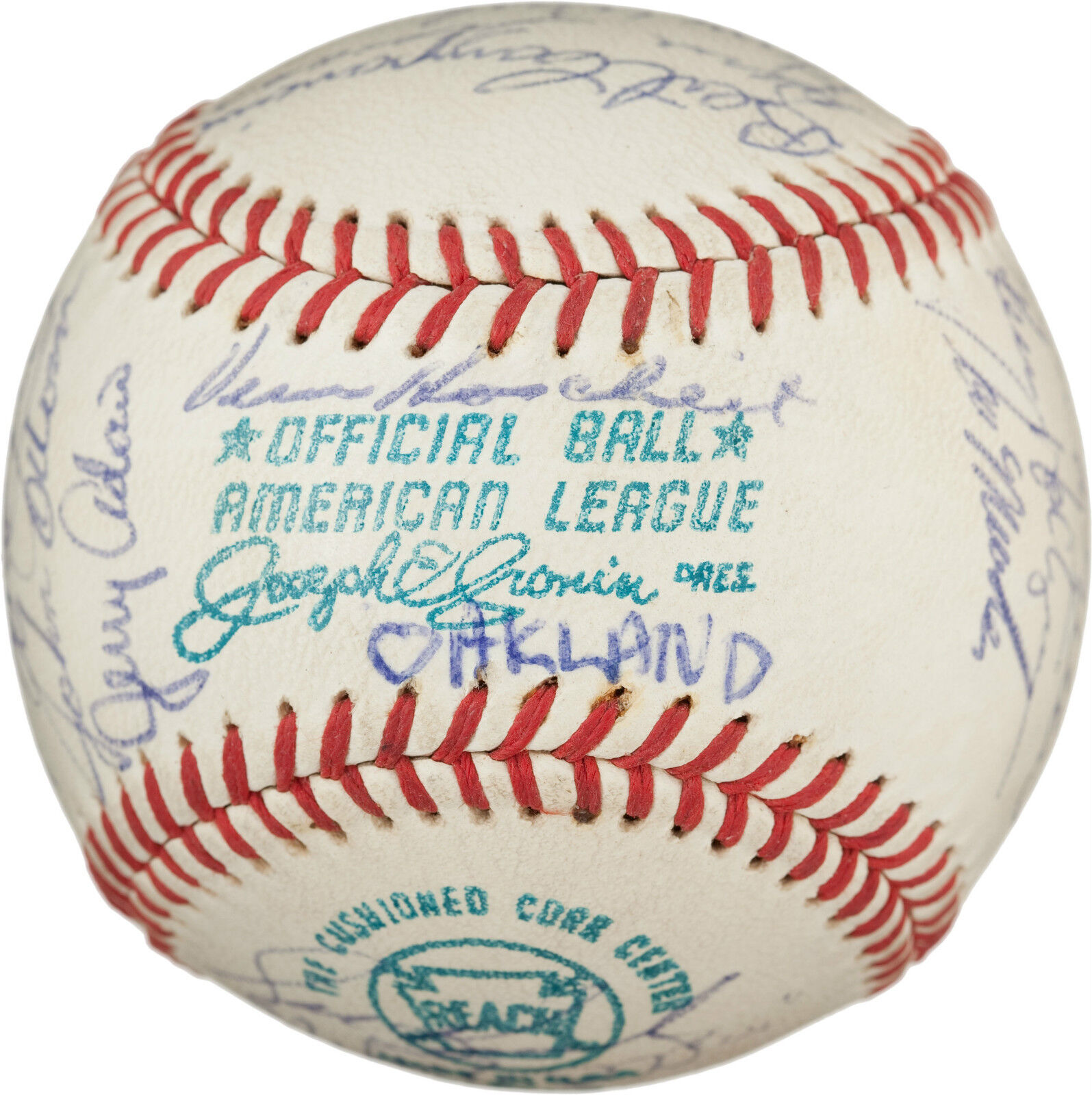 1972 Oakland Athletics Autographed Baseball - 24 Signatures - World Series!