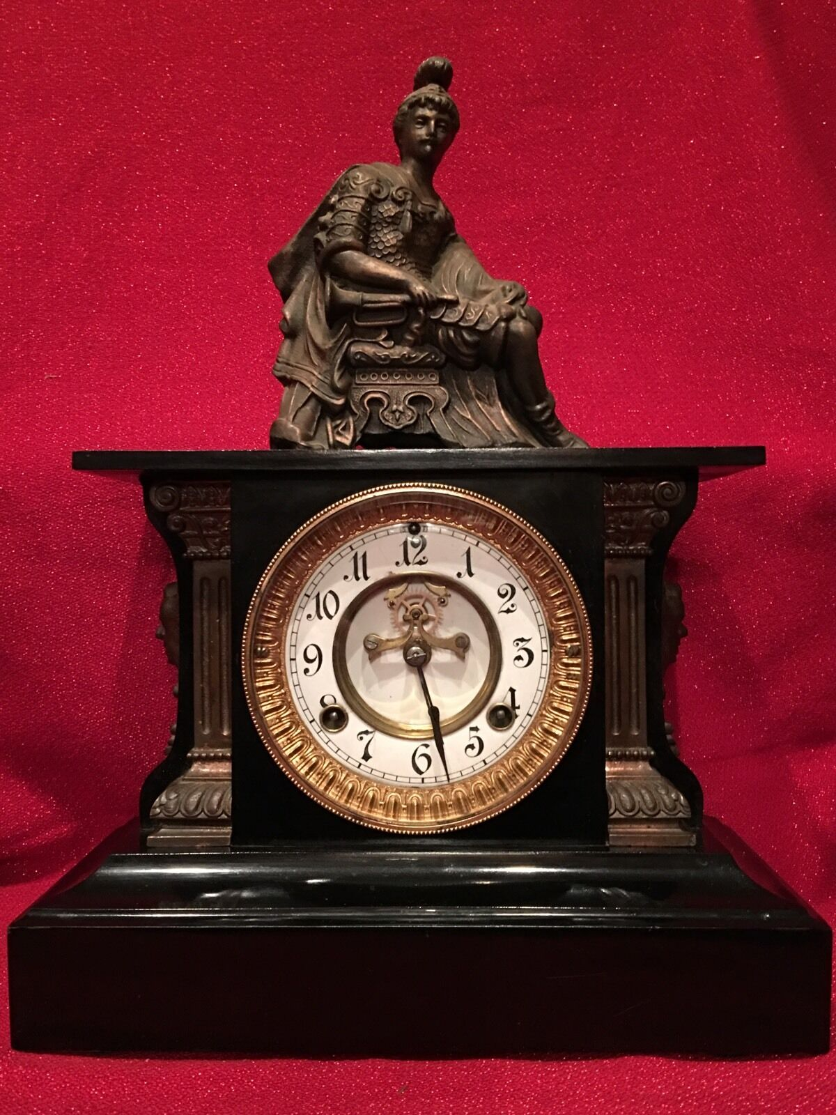 Rare Waterbury Clock Co. Cast Iron Mantle Statue Clock Fancy Devil Masks 1881