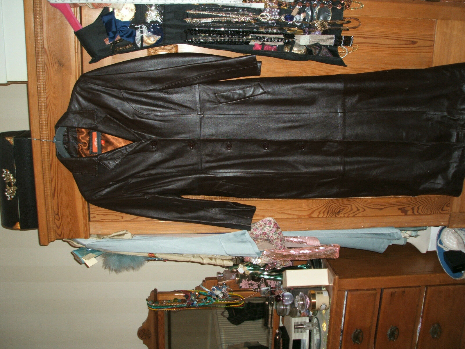 SALE Beautiful Steampunk Gothic Victorian Full Length BROWN Long Leather Coat