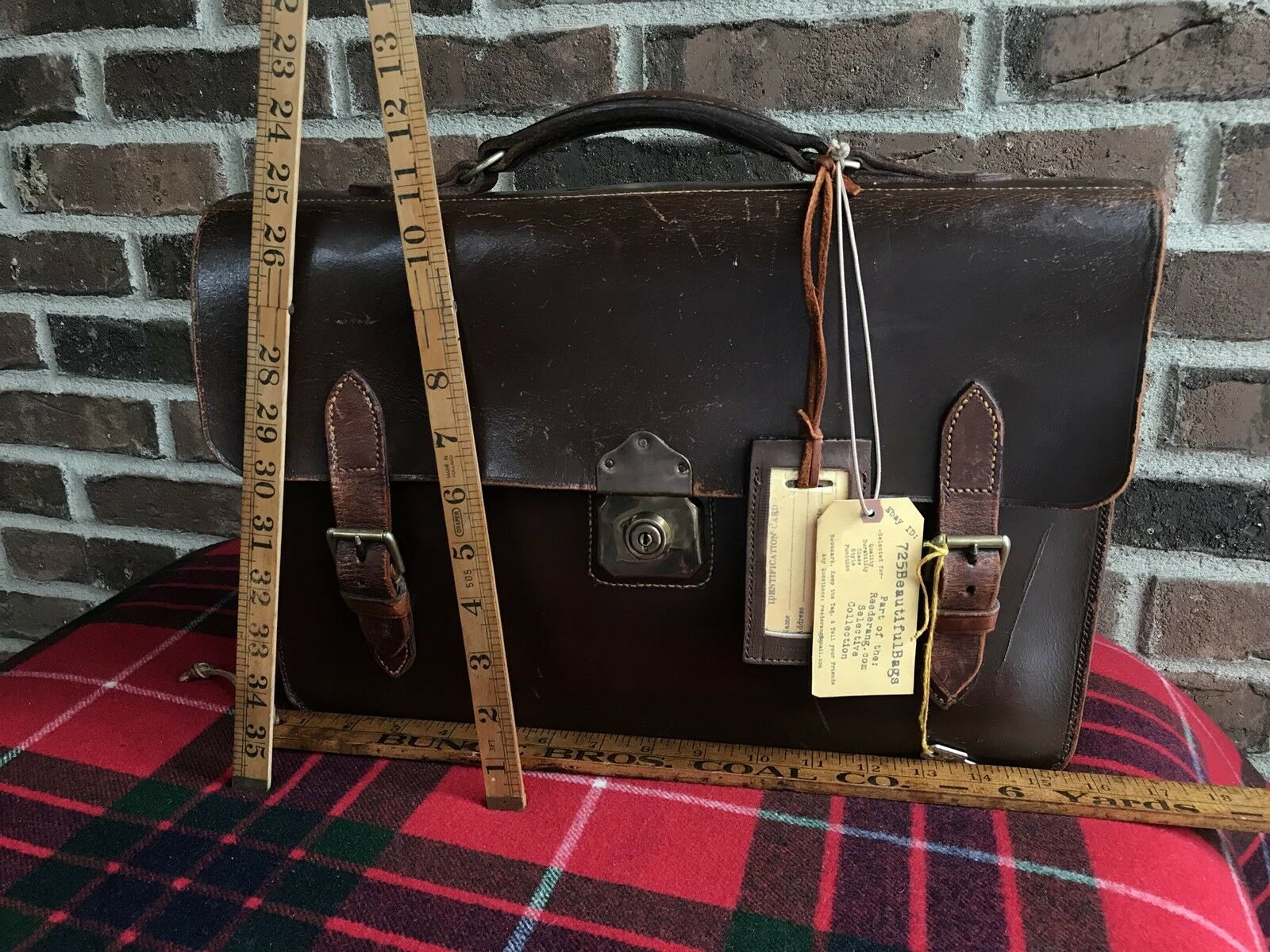 VINTAGE FRANCE 1940's BROWN SADDLE HARNESS BELTING LEATHER BRIEFCASE BAG R$1298