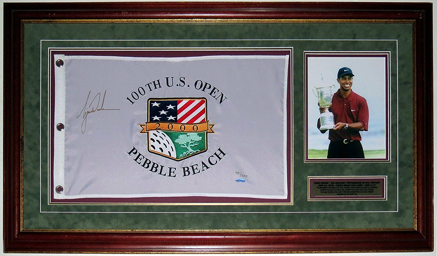 TIGER WOODS AUTOGRAPHED 2000 US OPEN FLAG UDA COA LE /500 CUSTOM FRAMED 8X10
