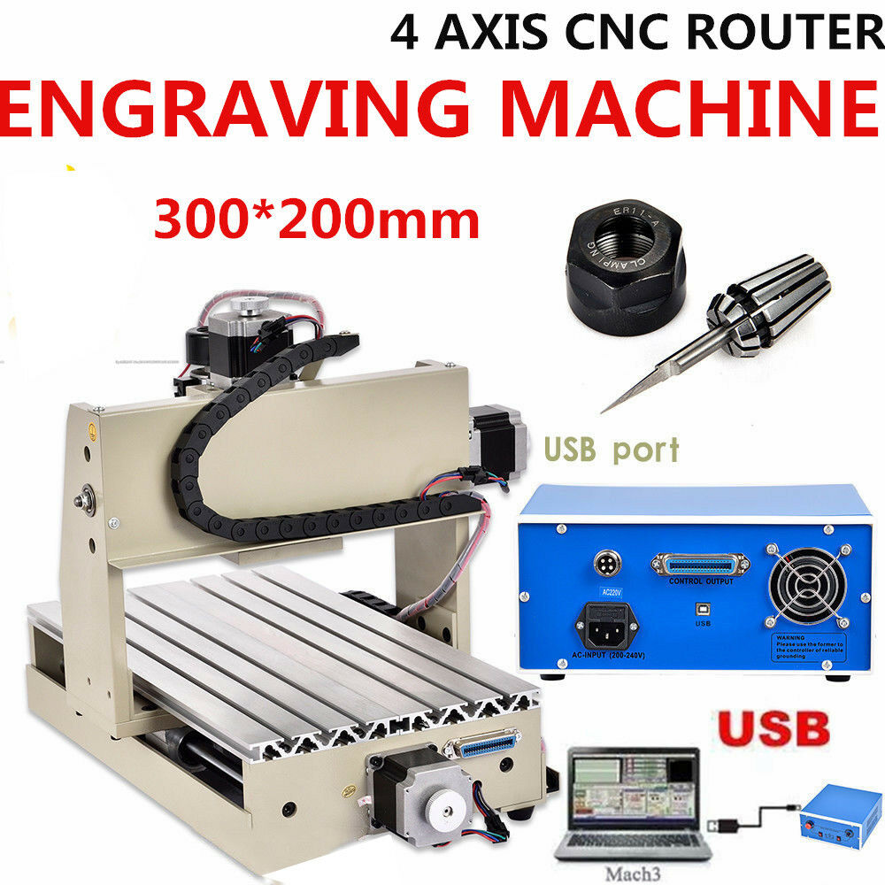 USB 3020 4 Axis CNC Router Engraver Engraving Milling 3D Cutting Drilling 220V