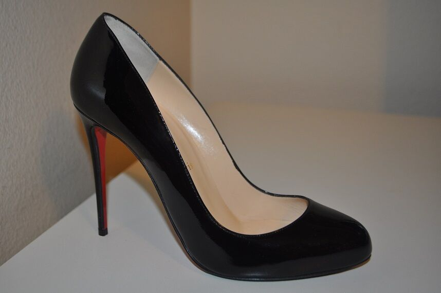 Christian Louboutin FIFI 100mm Pump Heel Shoes Black Patent  Leather 38.5 - 8 US