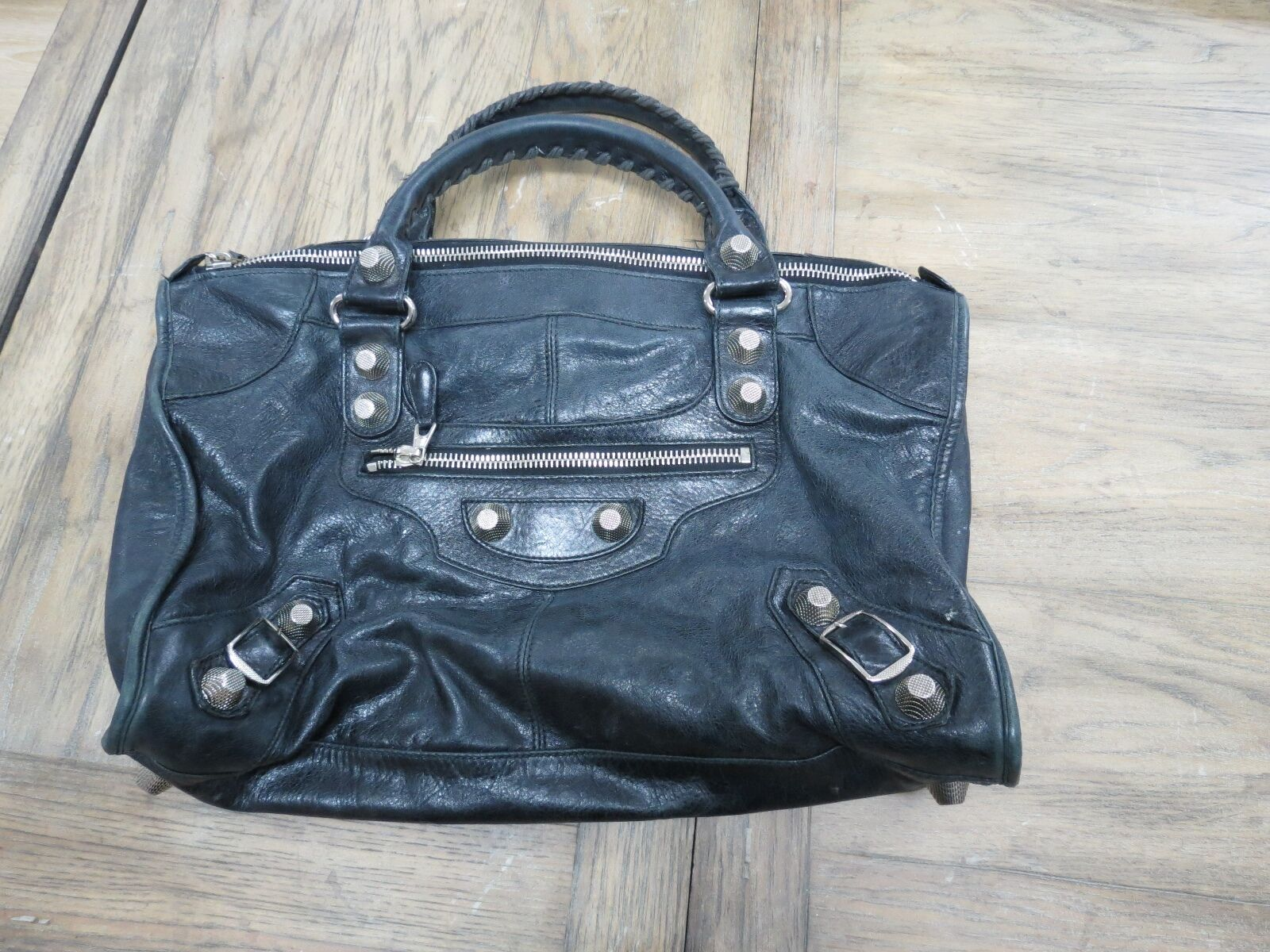Authentic BALENCIAGA work handbag black with giant silver hardware