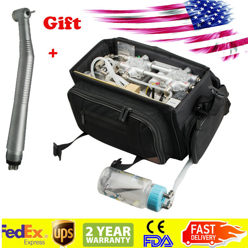 US Black Dental Turbine Unit Bag Air Compressor Suction System Syringe Handpiece