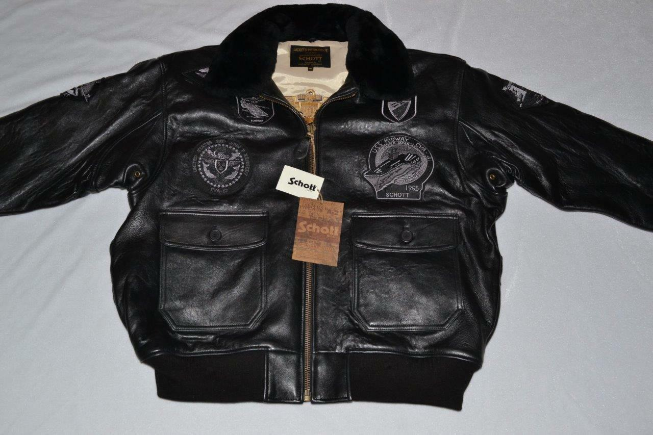 SCHOTT NYC G1TG G-1 WINGS OF GOLD LEATHER BOMBER JACKET BLACK XL XLARGE NEW