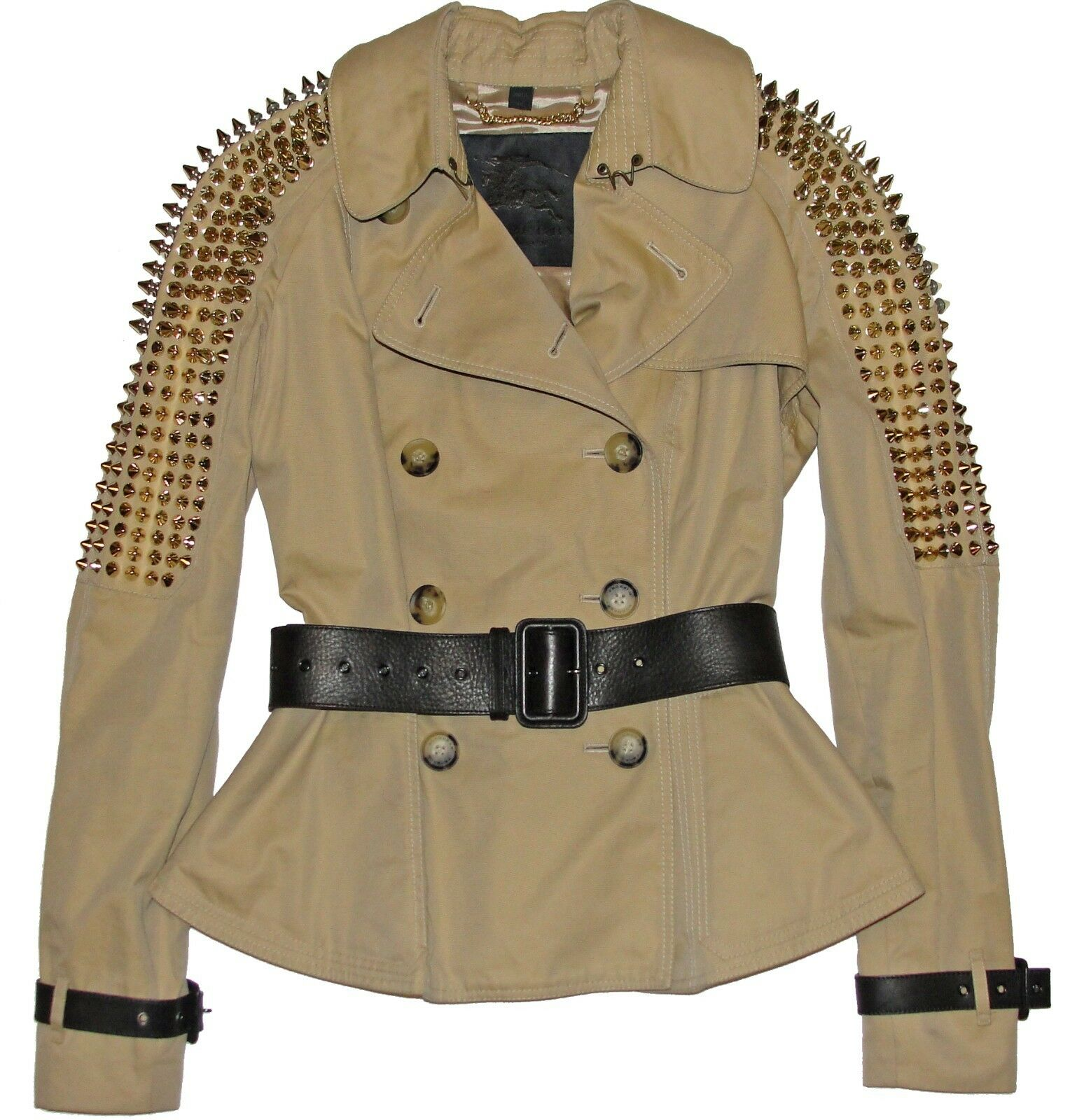 Burberry Prorsum Gold Studded Beige Gabardine Peplum Jacket w/ Leather Belt IT40