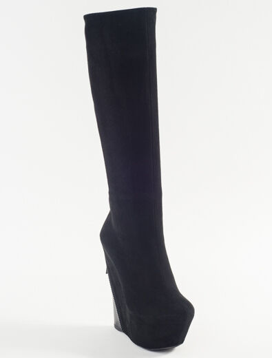 New Gianmarco Lorenzi Black Suede Sexy Wedge Fashion Boots Size 36 US 6