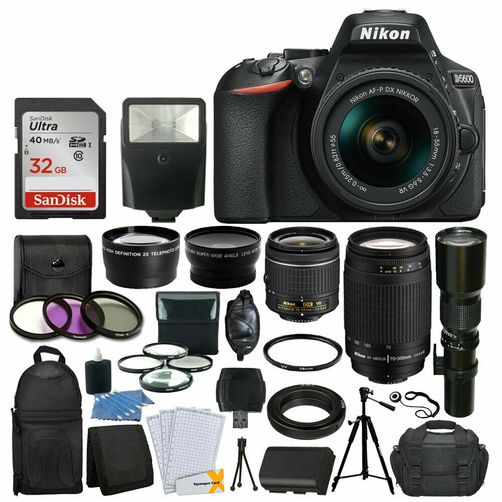 Nikon D5600 DSLR Camera w/ 18-55mm VR + 70-300mm + 500mm +32GB Top Value Kit New