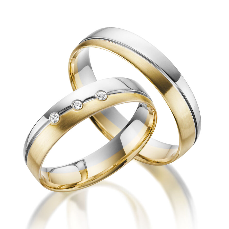 2 x 585 Wedding Rings Gold Bicolor - White Solid Price for One Pair Geniune
