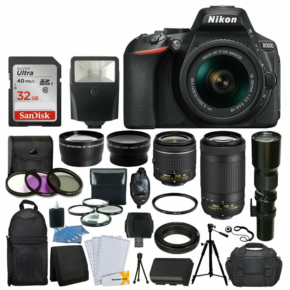 Nikon D5600 DSLR Camera w/ 18-55mm VR + 70-300mm VR + 500mm +32GB Top Value New