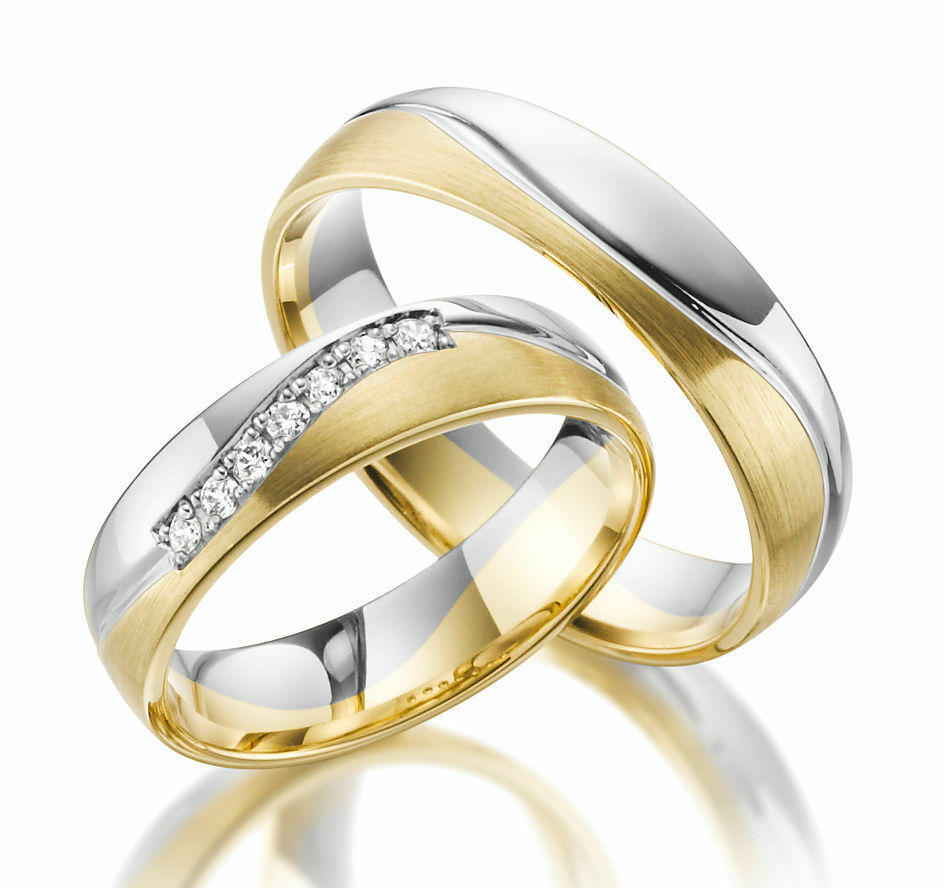 2 x 333 Wedding in Yellow-Gold White-gold Price for One Pair 8 CARAT GENIUNE