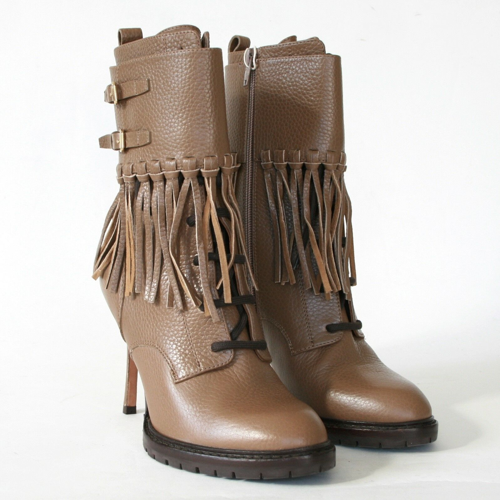 VALENTINO GARAVANI high spike heel fringe cuff bootie commando sole boots 37 NEW