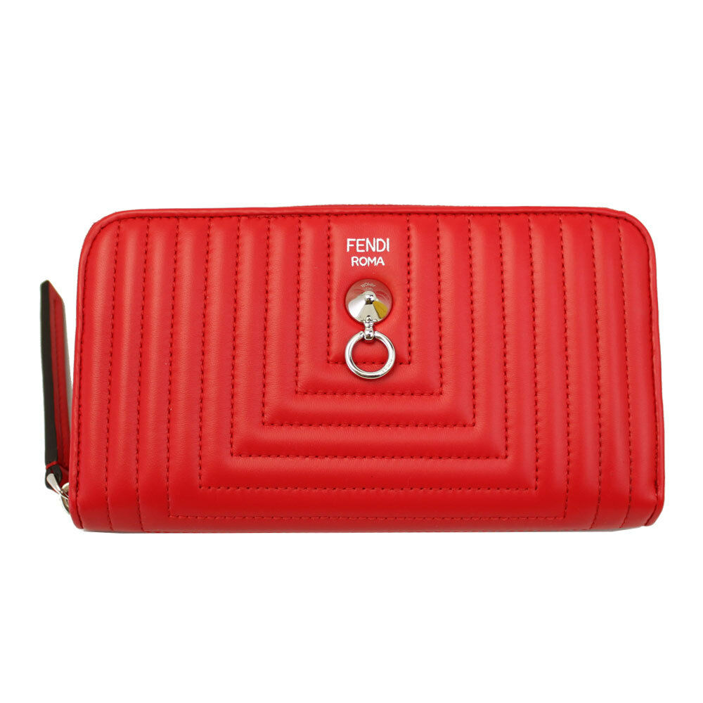 BRAND NEW FENDI RED QUILTED LEATHER ZIP AROUND LONG WALLET 8M0299 I8F