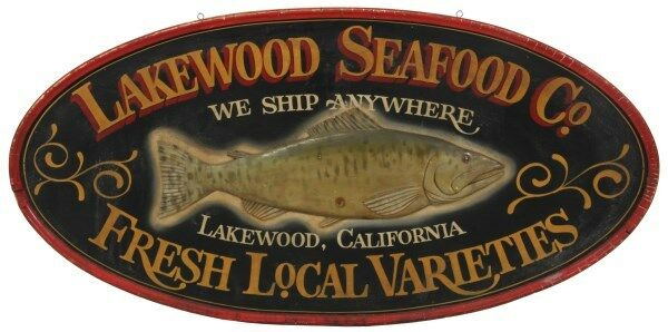 Double Sided Seafood Co. Hanging Wood Sign Lot 130