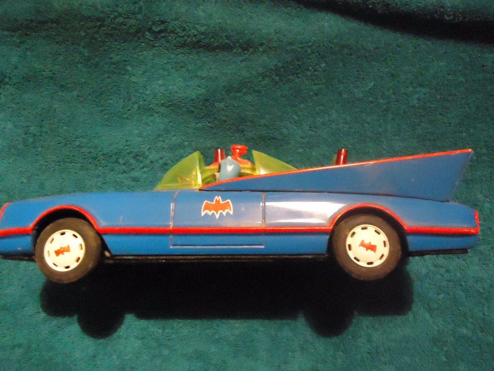 Vintage Bat Mobil tin battery operated Aoshia 1970's Tin Toy