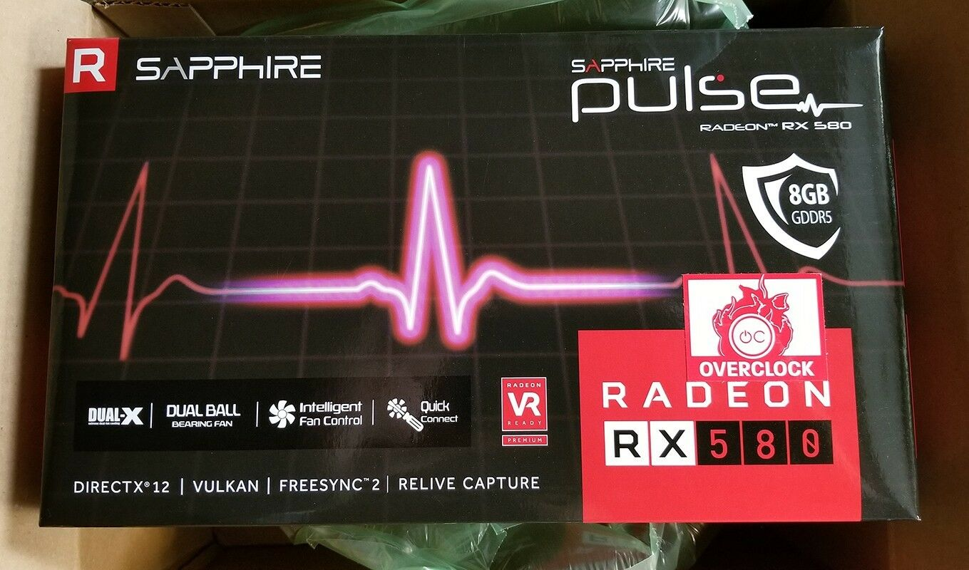 Sapphire PULSE RX 580 8GB OC Edition with Backplate - Never Opened! 11265-05