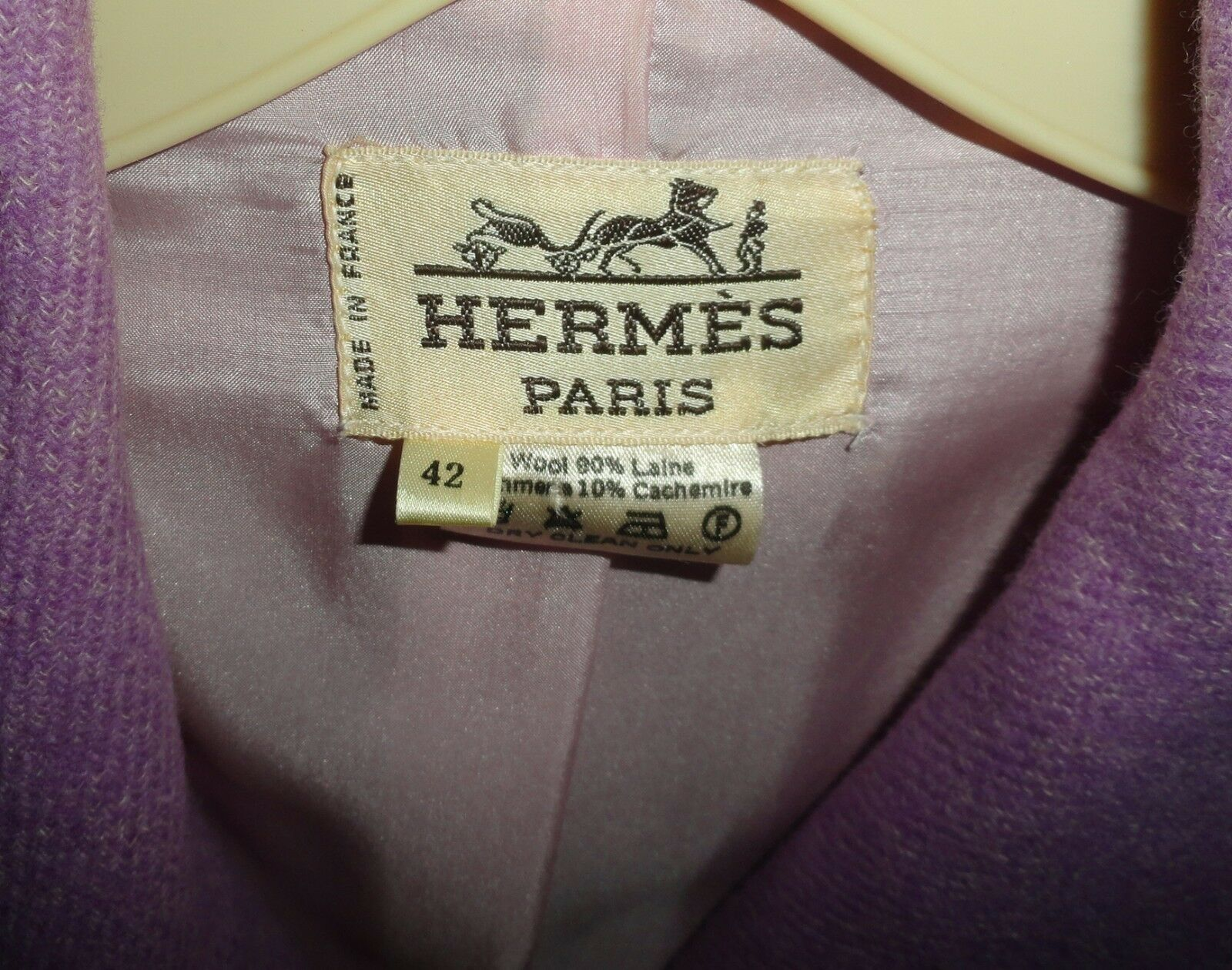 Vintage Retro HERMES PARIS Ladies Long COAT Mauve Pink Lavender WOOL