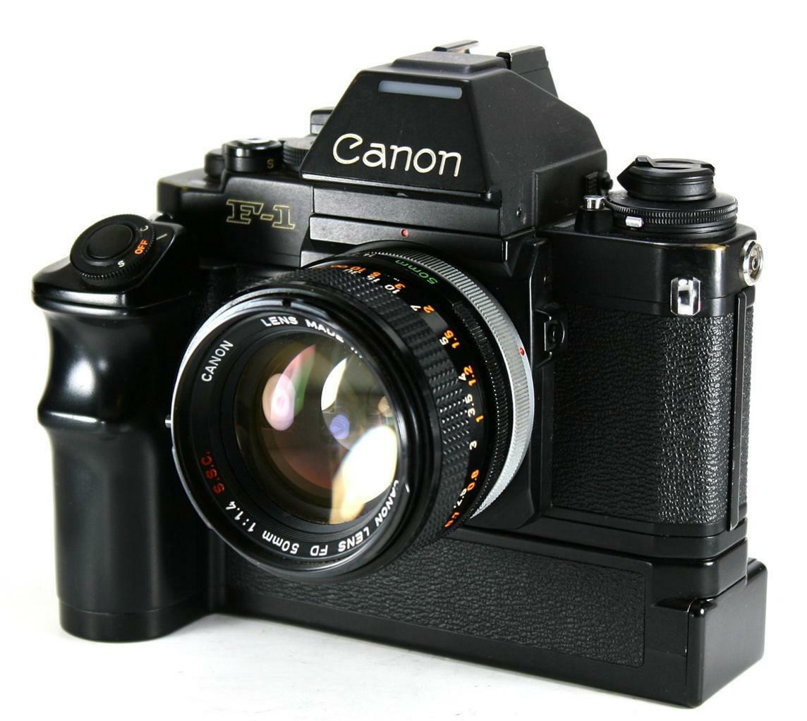 Canon New F-1 35mm SLR Film Camera with 50mm F1.4 Prime Lens and Power FN Winder