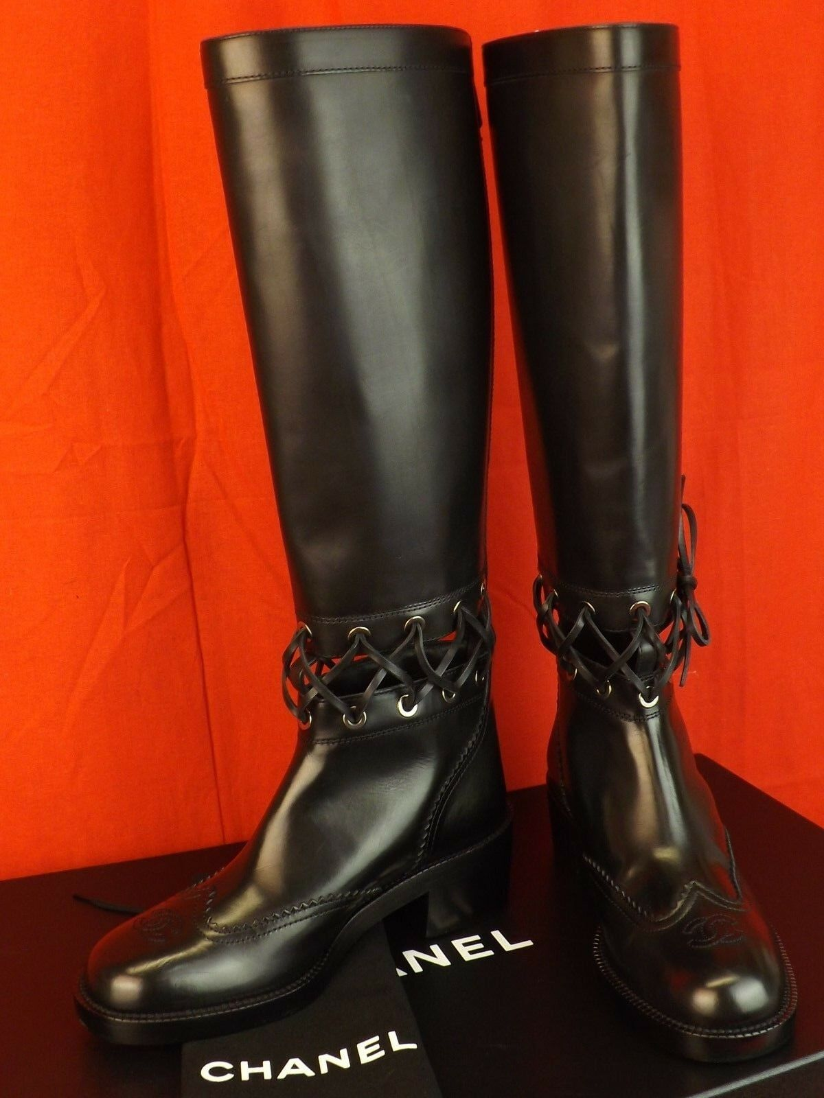 16K NIB CHANEL BLACK LEATHER CUTOUT LACE CC LOGO CORSET RUNWAY BOOTS 39.5 $2K