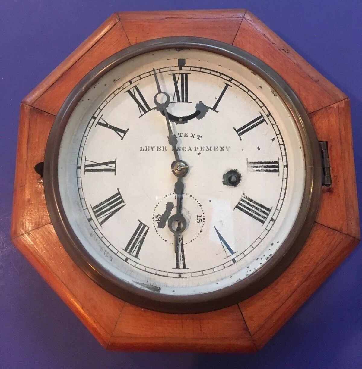 ANTIQUE EARLY 1900'S NEW HAVEN TIME ONLY MARINE WALL CLOCK RUNNING CONDITION