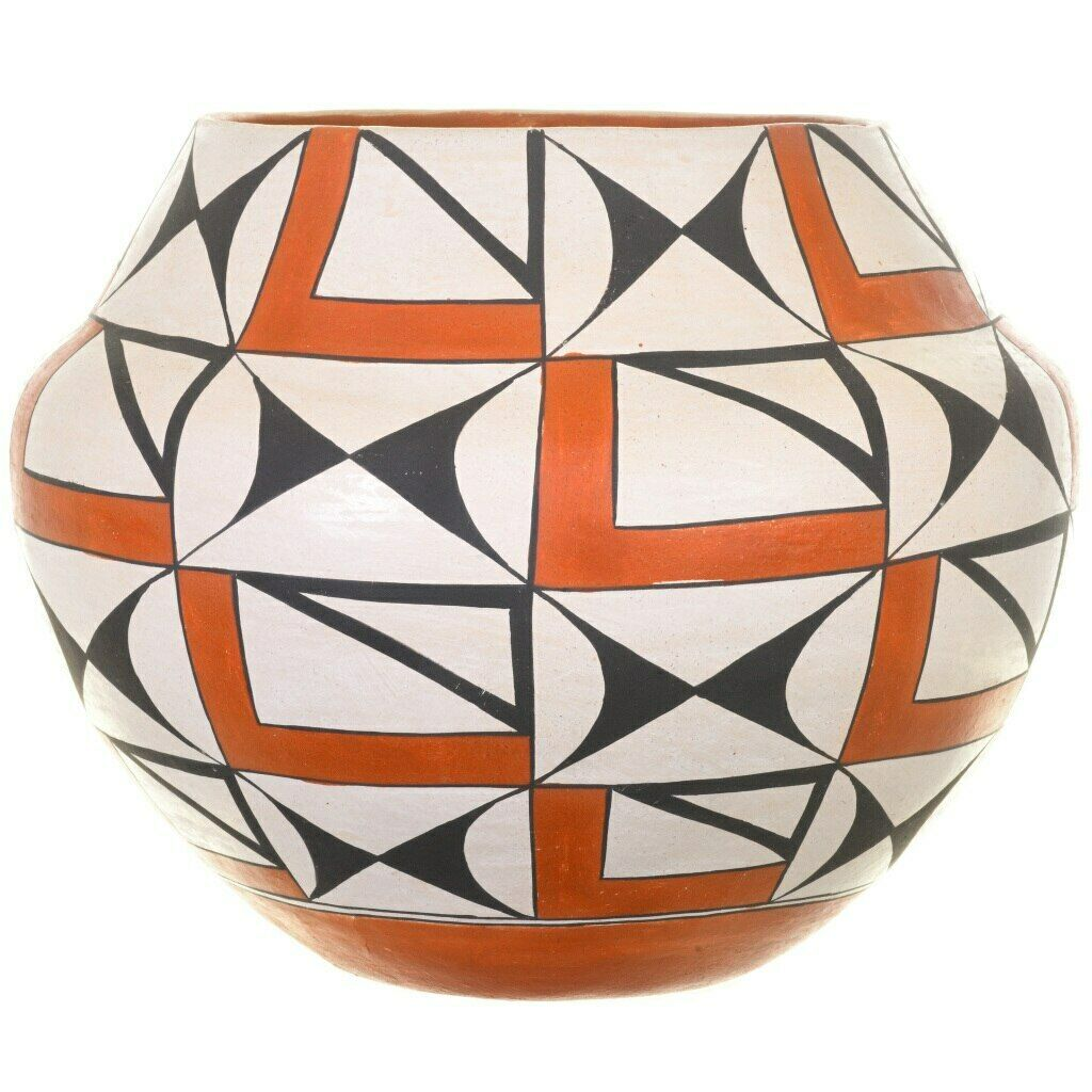 VINTAGE RARE Acoma Pueblo NM Free Hand Painted Eyedazzler Pottery Ceramic Signed