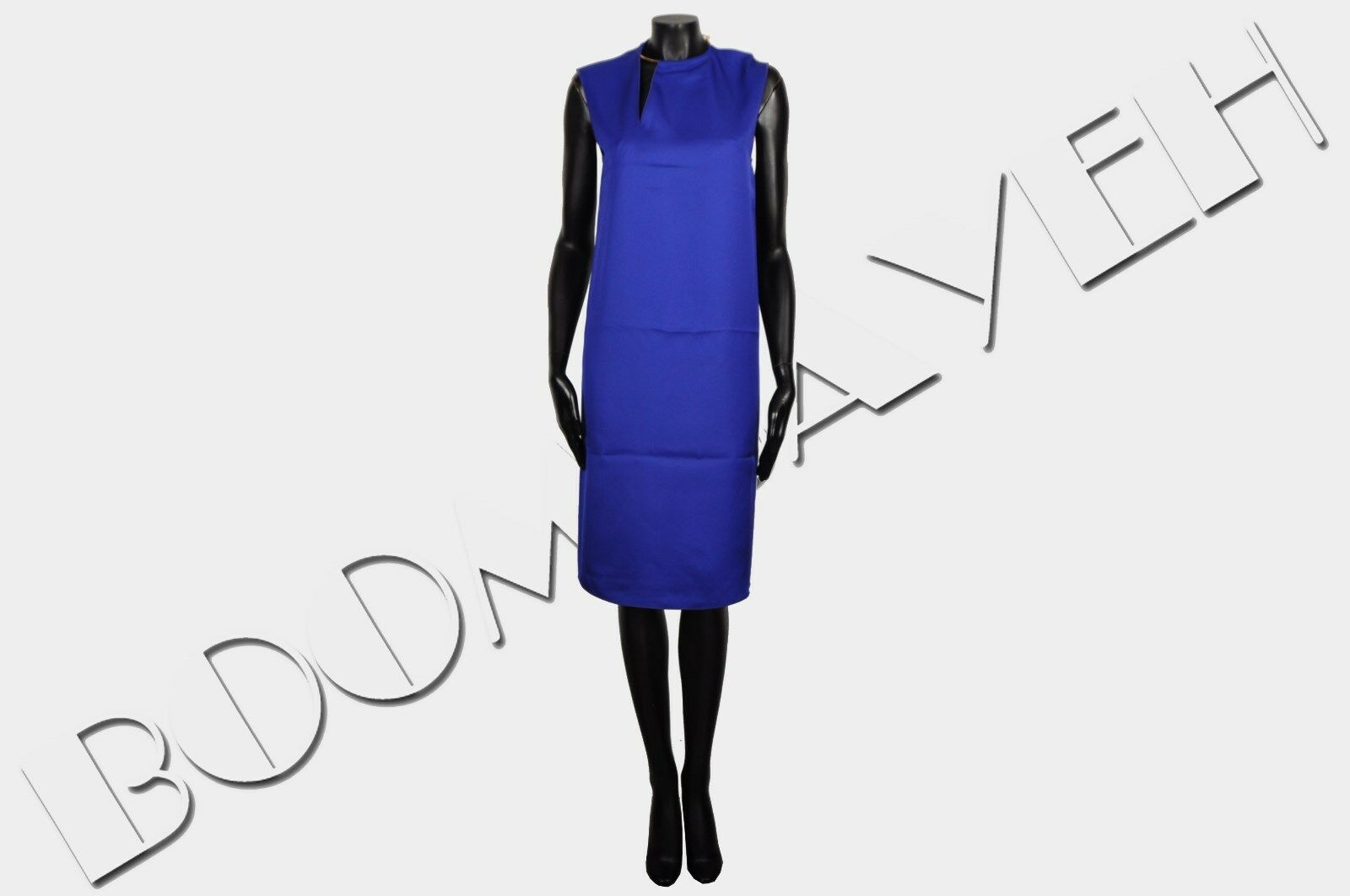 CELINE PARIS 2000$ New Blue Viscose Double Split Ring Neck Shift Dress sz 36 4