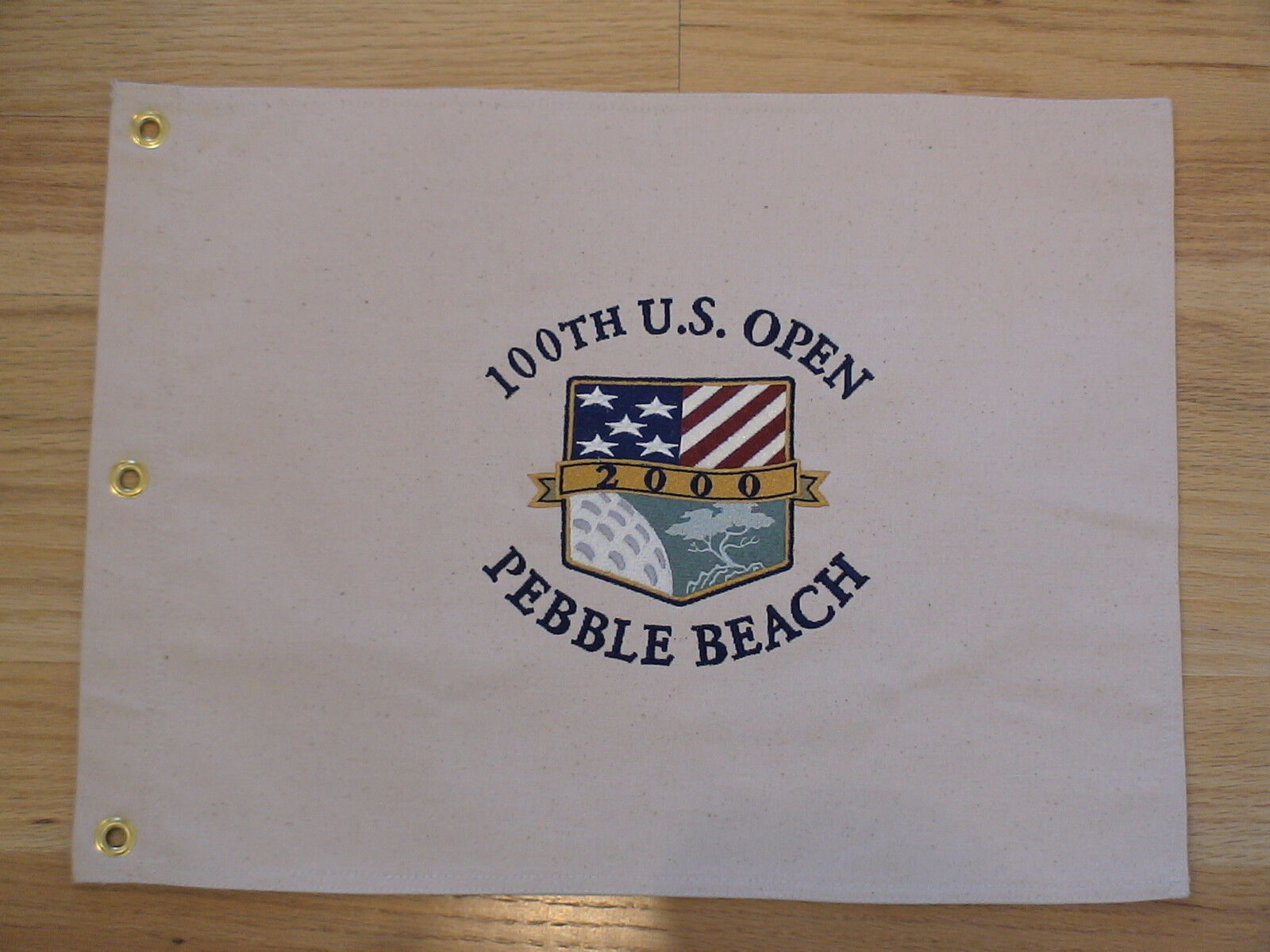 2000 U.S. US OPEN EMBROIDERED CANVAS PEBBLE BEACH FLAG TIGER WOODS